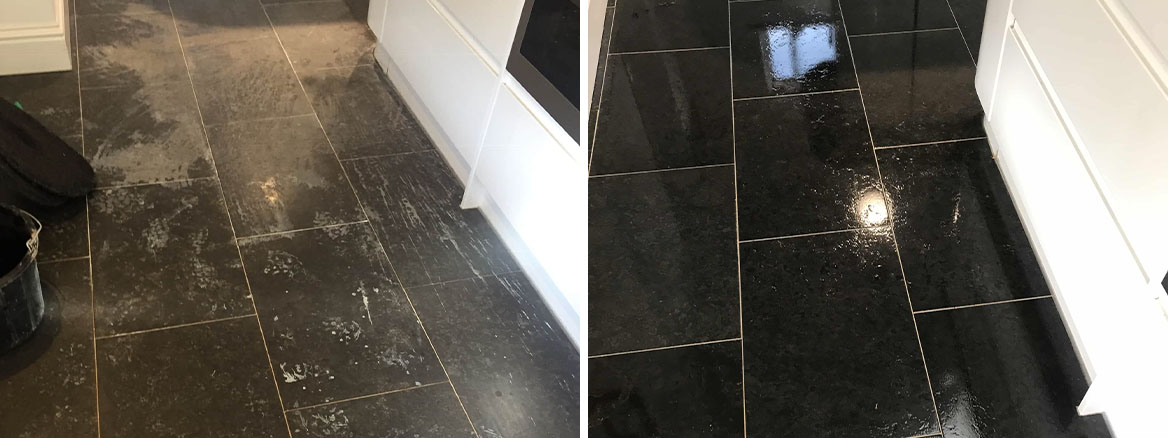 Acid Damaged Limestone Kitchen Floor Tile Before and After Restoration Stratford Upon Avon