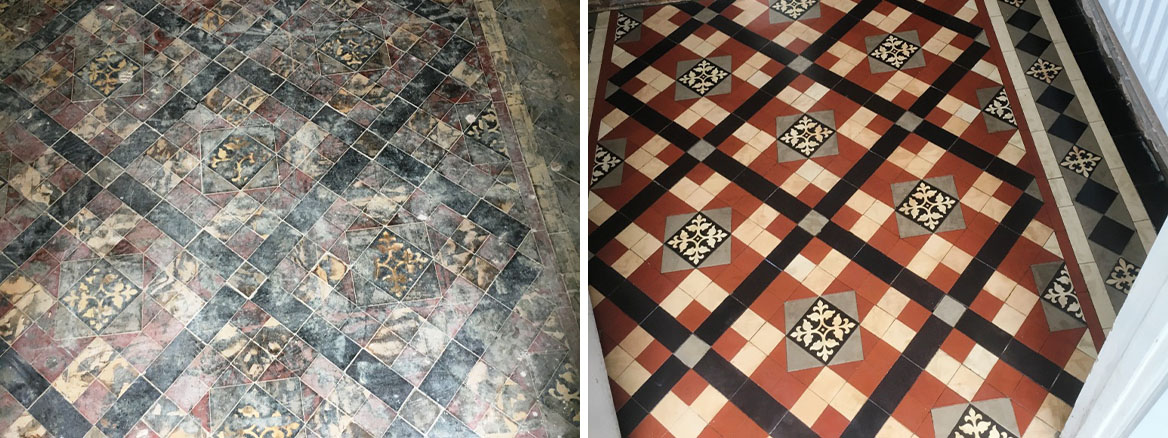 Edwardian Tiled Floor Covered In Tar Chaplefields Coventry Before and After Restoration