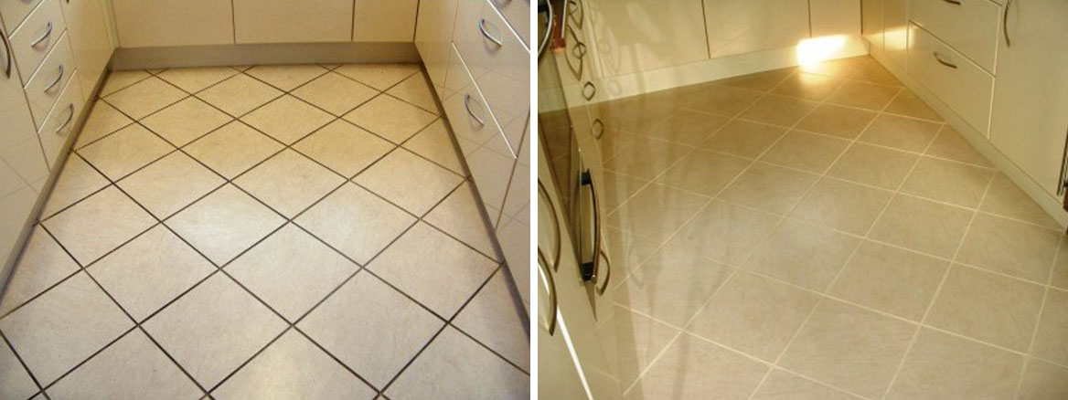 Kitchen Before and After Grout Colouring