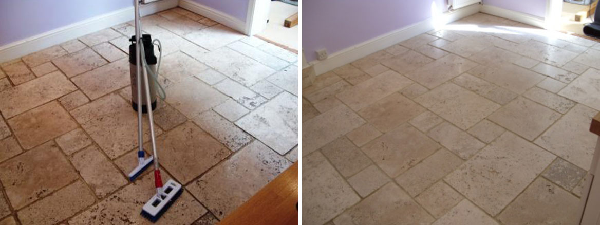 Limestone Floor Before and After