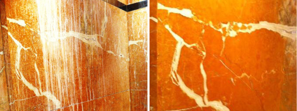 Marble Shower Cubicle Before and After Restoration