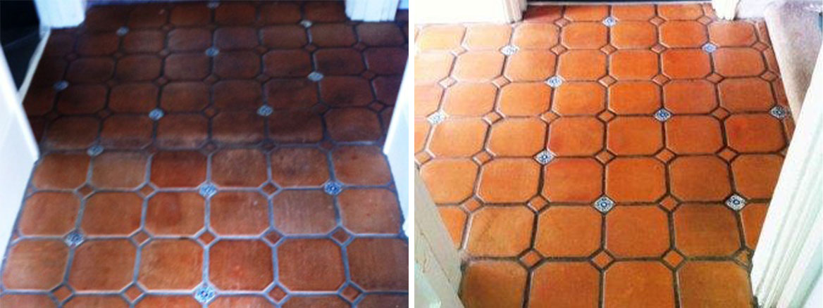 Mexican terracotta Before and After sealing
