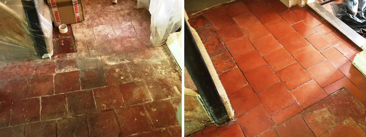 Quarry Tiled Floor Thatched Cottage in Rugby Before and After