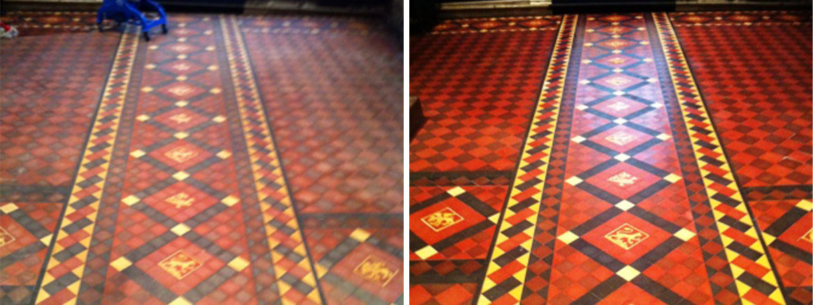 Victorian Church Floor Before and After Cleaning and sealing