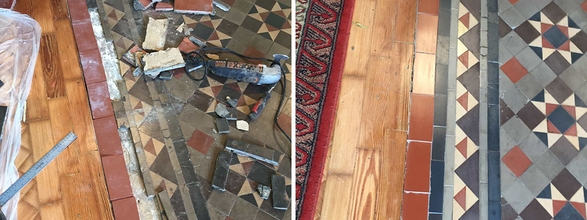 Victorian Church Floor Rugby Before and After Repair