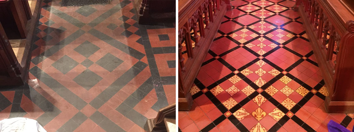 Victorian Floor Tiles Frankton Church Before and After Sealing