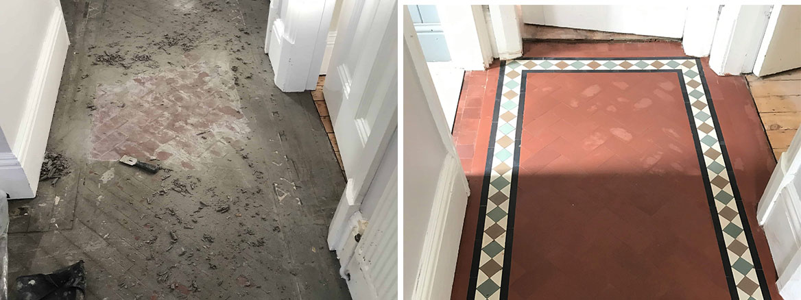 Victorian Geometric Floor Stoke Coventry Before and After Cleaning