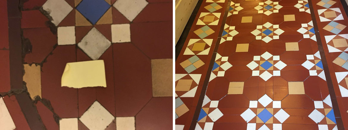Victorian Hallway Floor Before and After Restoration Rugby