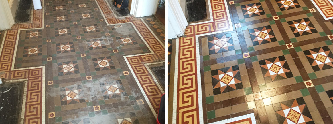 Victorian Tiled Floor Before and After Rebuild Leamington Spa