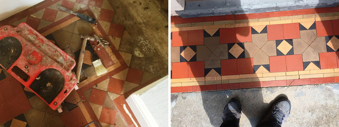Victorian Tiled Floor Before and After Refurbishment in Coundon