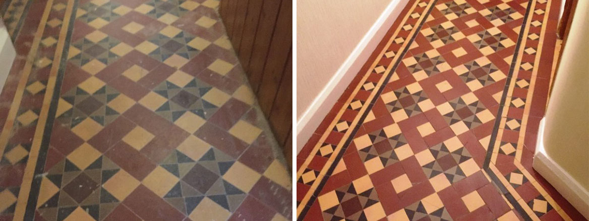 Victorian Tiled Floor Before and After Restoration Earlsdon Coventry