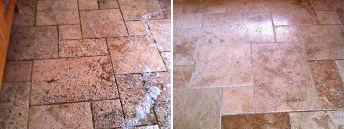 Travertine floor Before and After sealing and sealing
