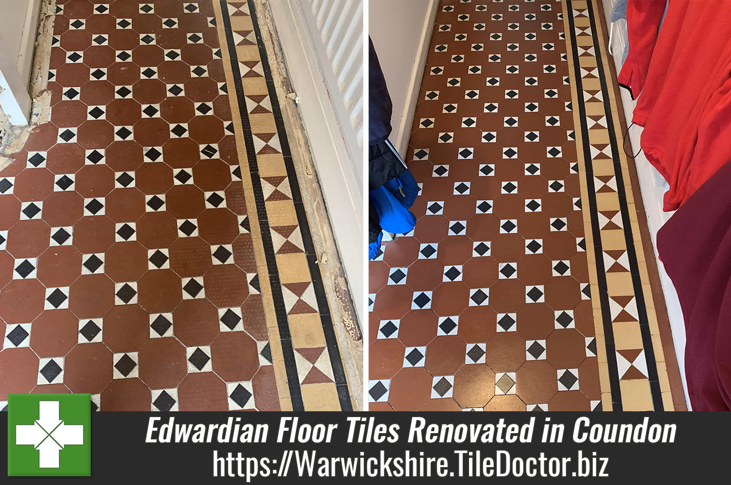 Edwardian Hallway Floor Tiles Before and After Cleaning Sealing Coundon