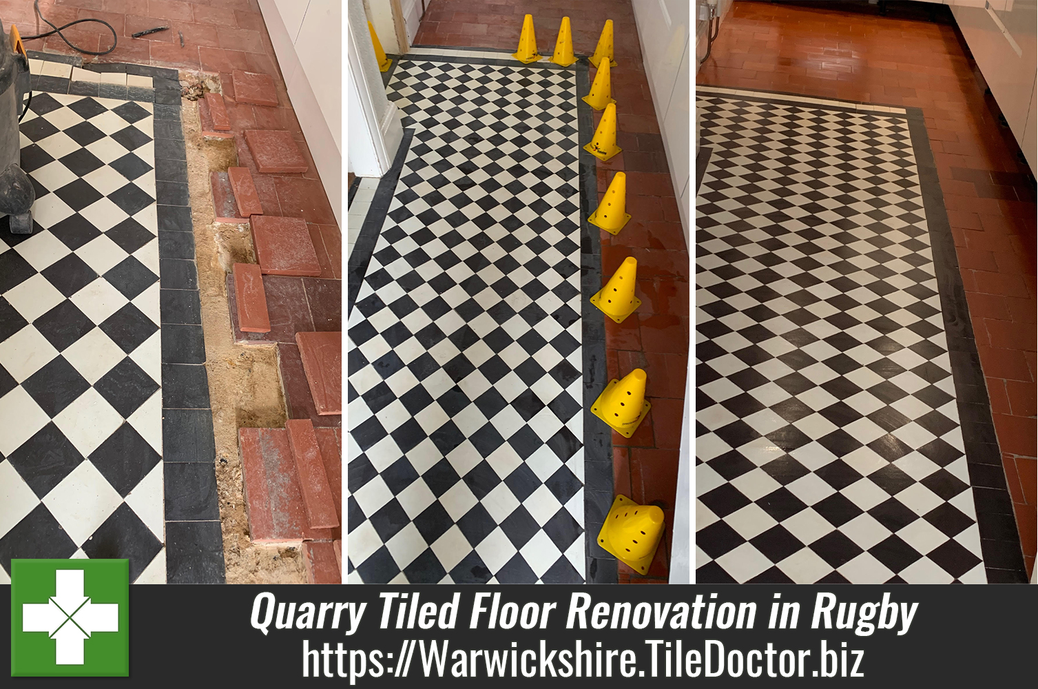 Quarry Tiled Floor Layout Altered and Renovated in Rugby