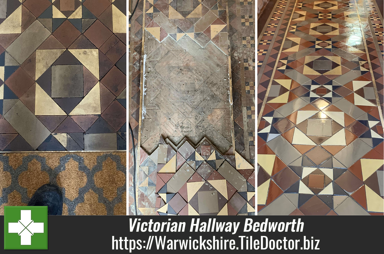 Geometric Victorian Tiled Hallway Restored in Bedworth
