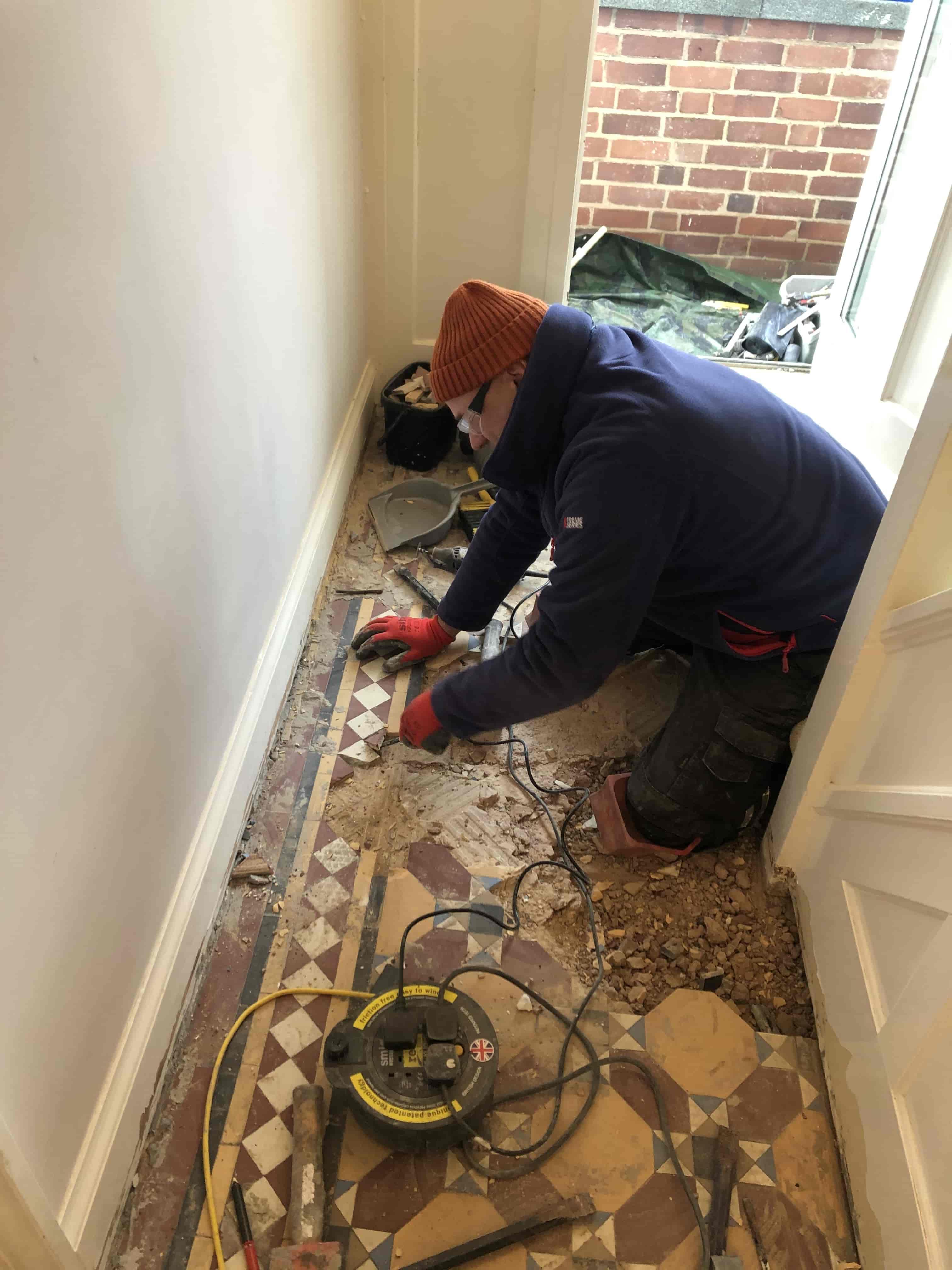 Victorian Hallway During Craven Dunnill Tile Rebuild Stoke Golding Nuneaton
